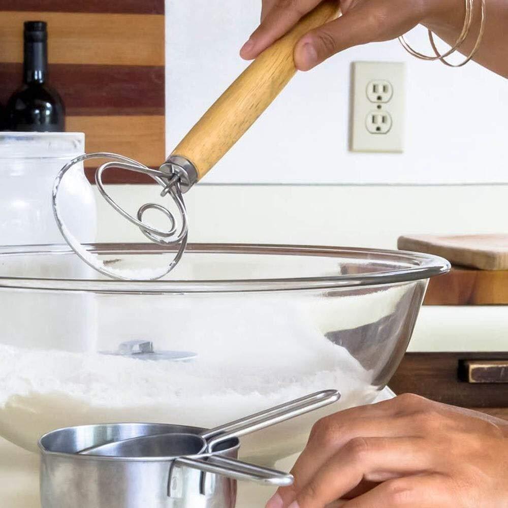 Batidoras de mano Batidora port/átil Batidor de huevo de madera Batidor de huevo manual de acero inoxidable Batidor de espuma de huevo Batidora Gadgets for hornear de cocina for mezclar Agitar peque/ños