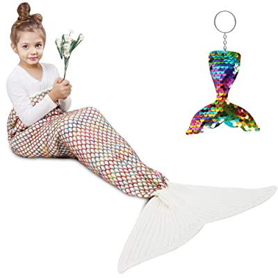 AmyHomie Mermaid Tail Blanket, Mermaid Blanket Adult Mermaid Tail Blanket, Crotchet Kids Mermaid Tail Blanket for Girls (White, Kids): Home & Kitchen