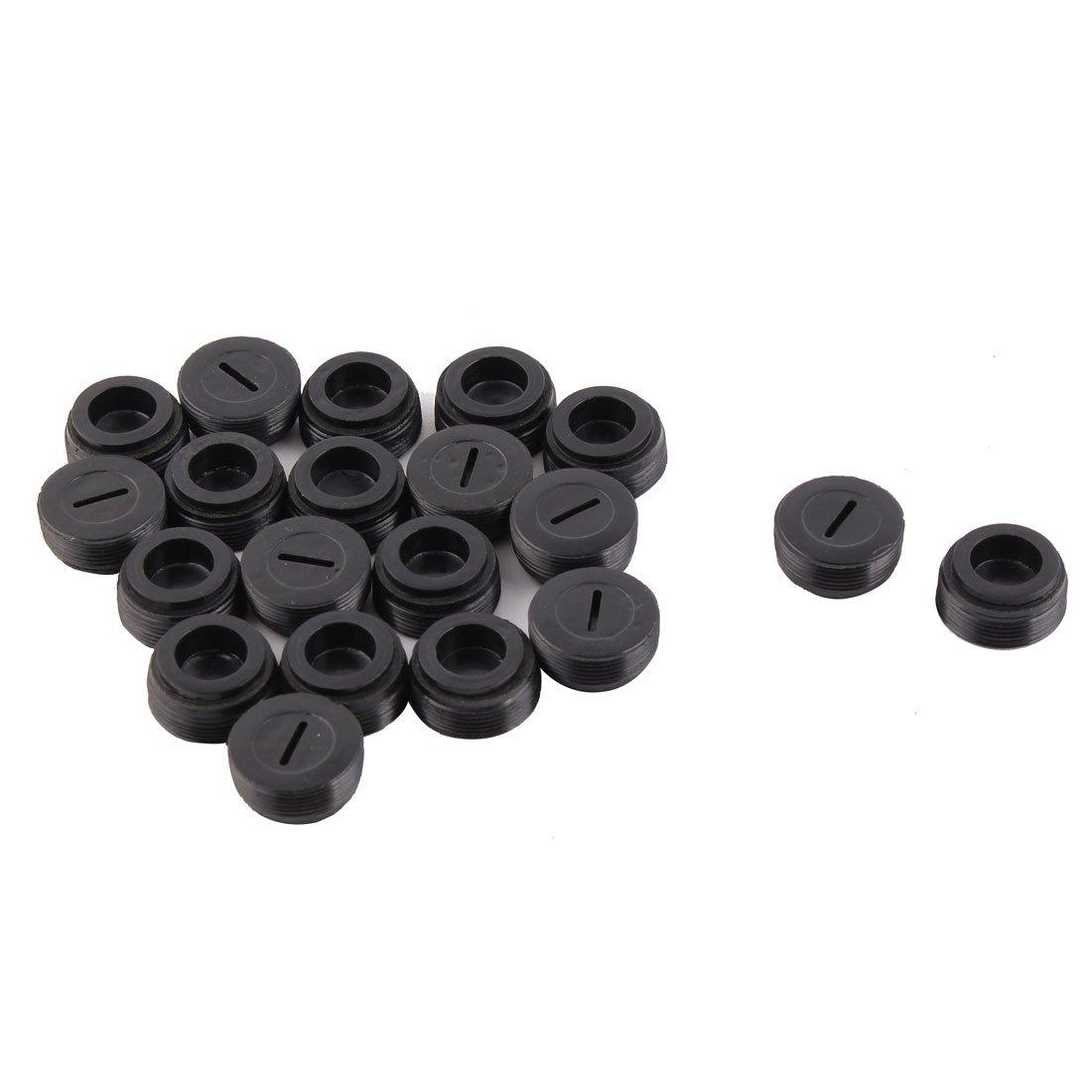sourcingmap Escobillas de carb/ón del motor Soporte de tornillo Tapa Negra de repuesto 20pcs