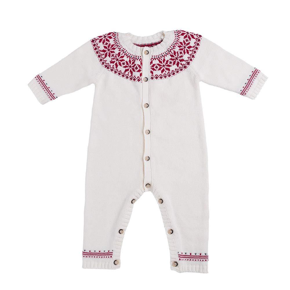 Yukeyy Babys First Christmas Sweater Unisex Newborn Knitted Sweater Jumpsuit