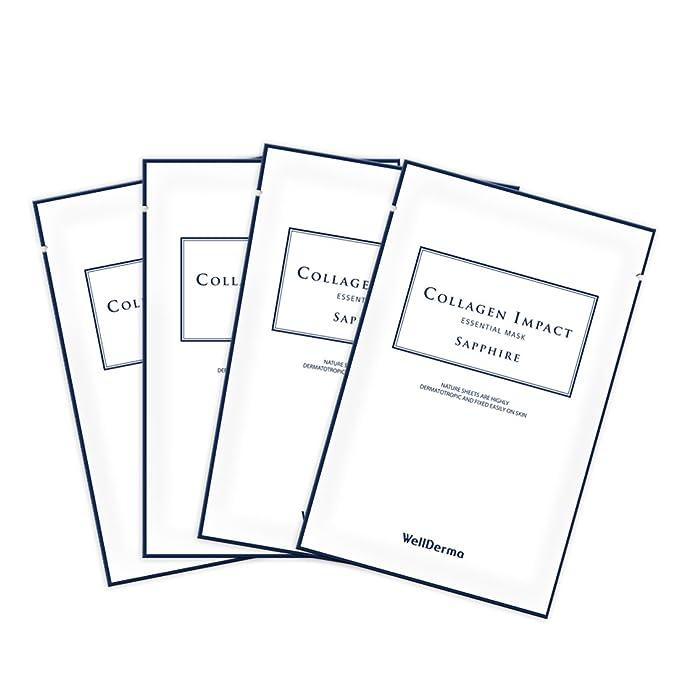 [WellDerma] Mascarilla de impacto esencial de colágeno (Sapphire) (10 unidades) / hidratante elasticidad piel radiancia: Amazon.es: Belleza