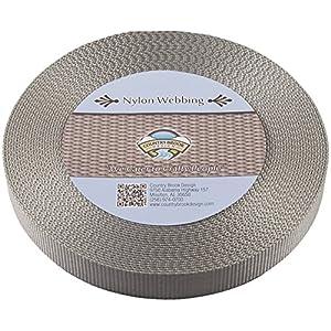 Country Brook Design | Silver Heavy Nylon Webbing (1 inch, 10 yards)