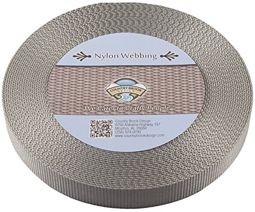 Country Brook Design | Silver Heavy Nylon Webbing (1 inch, 10 yards)