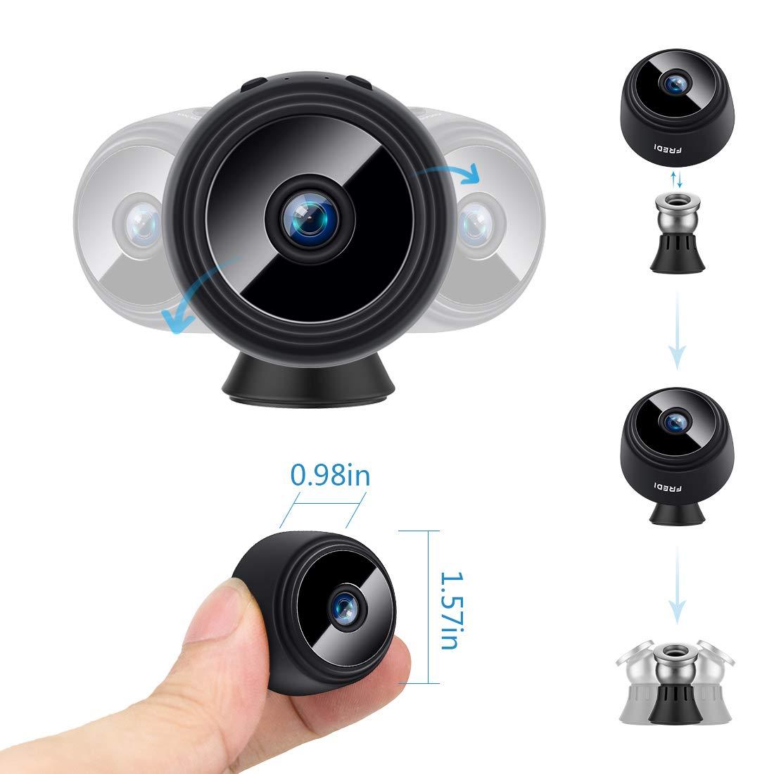 Fredi Mini cámara espía, 1080P HD WiFi cámara escondida cámara espía, pequeñas cámaras de seguridad inalámbrica para el hogar con visión nocturna, ...