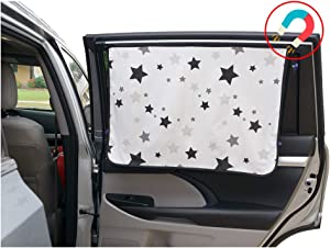 ggomaART Car Side Window Sun Shade - Universal Reversible Magnetic Curtain for Baby and Kids with Sun Protection Block Damage from Direct Bright Sunlight, Heat, and UV Rays - 1 Pack of Black Stars