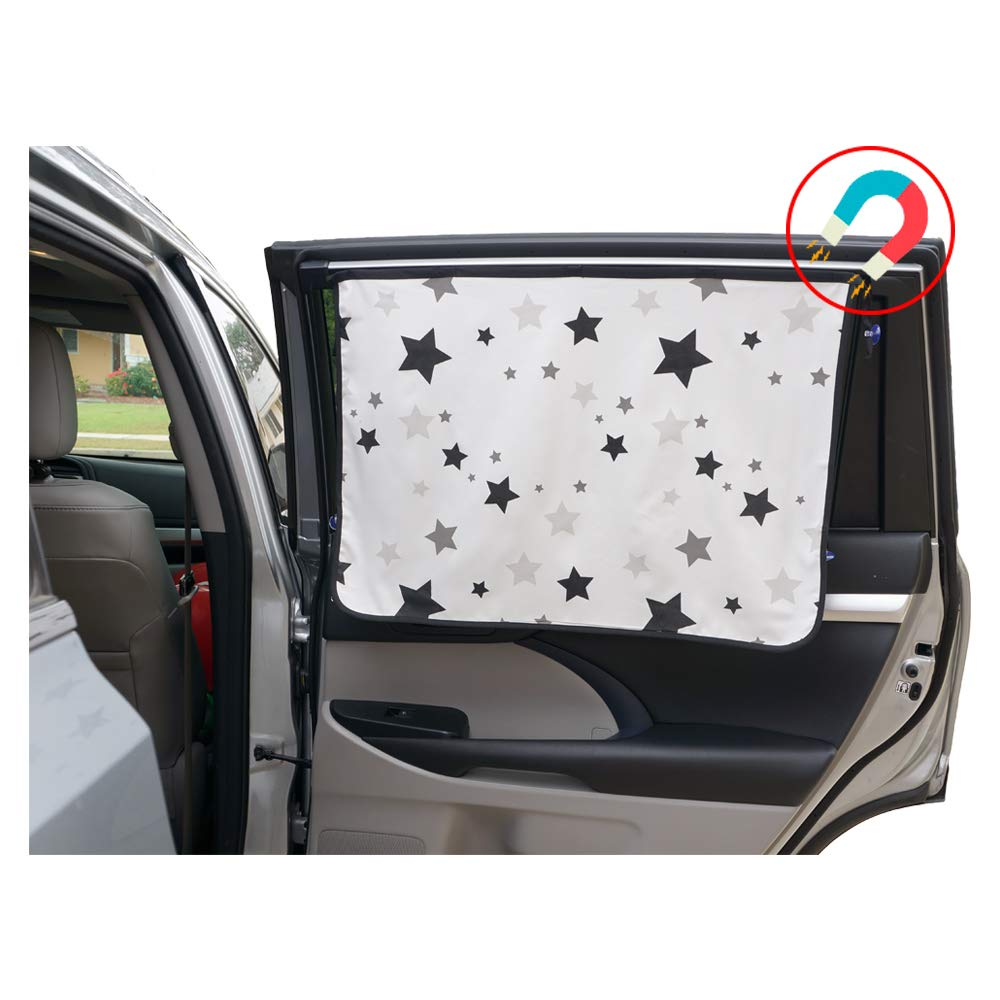ggomaART Car Side Window Sun Shade - Universal Reversible Magnetic Curtain for Baby and Kids with Sun Protection Block Damage from Direct Bright Sunlight, Heat, and UV Rays - 1 Pack of Black Stars by ggomaART