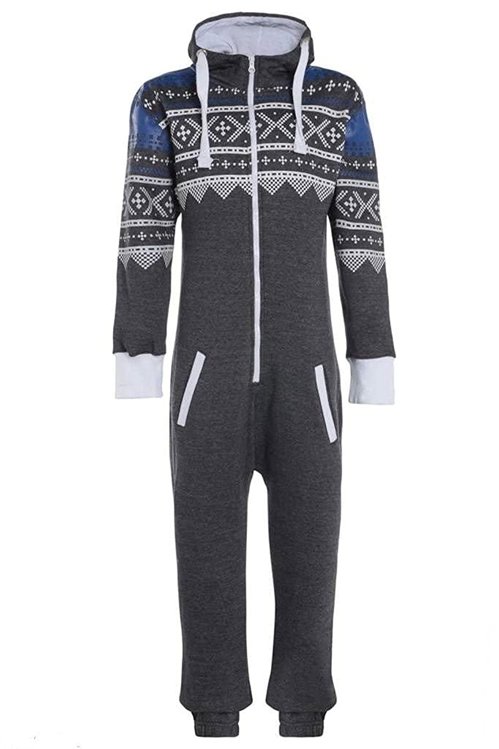 Unisex Mens Aztec Army Print Onesie Zip Up All In One Hooded Jumpsuit S-XL X-Large, Charcoal Aztec