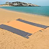 Sundale Outdoor 9' x 10' Oversized Beach Blanket Lightweight Portable Picnic Blanket Durable Beach Mat with 4 Anchor Stakes for Camping, Hiking, Sand Resistant (Orange&Grey)