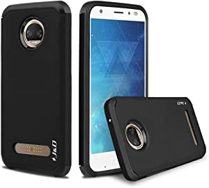 J&D Case Compatible for Moto Z2 Force Case, Heavy Duty Dual Layer Hybrid Shock Proof Protective Rugged Bumper Case for Motorola Moto Z2 Force Case, Black