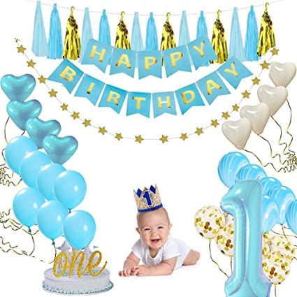 Leegoal Birthday Party Decoration For Boy 1st Baby Happy Banner One Cake Topper