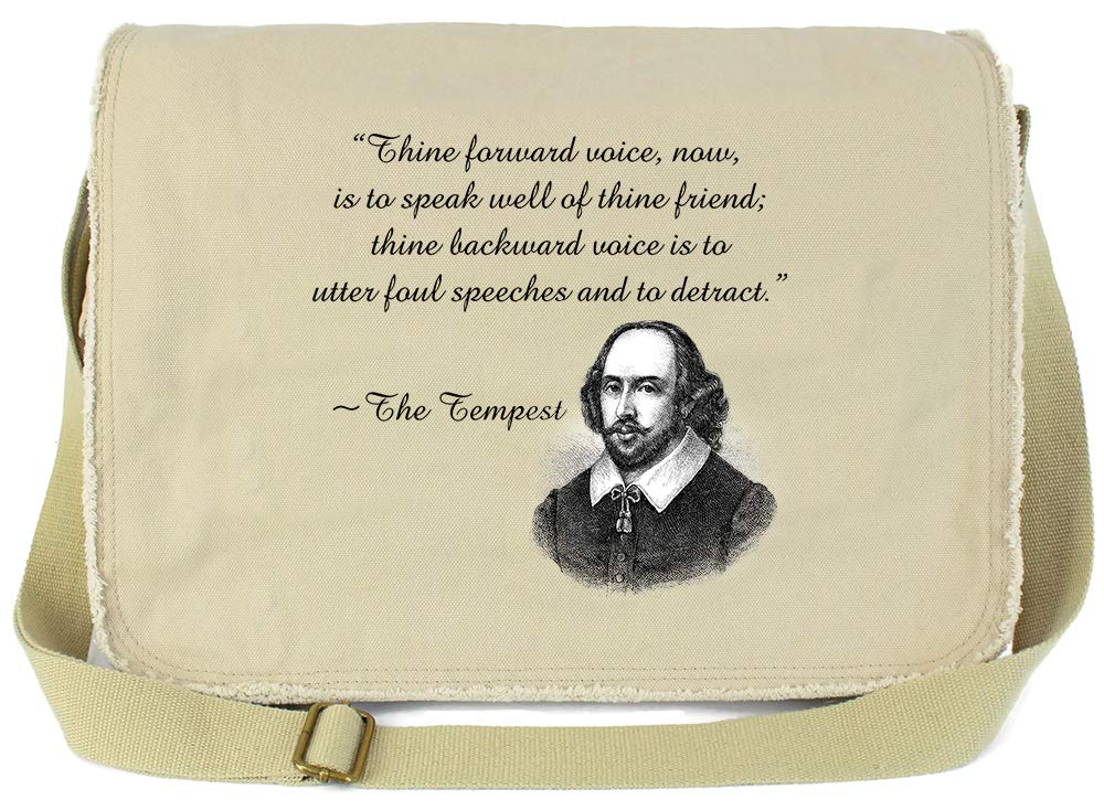 Tenacitee Shakespeare Insult Green Brushed Canvas Messenger Bag
