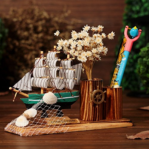 Mediterranean Style Sailboat Model Home Decoration Sailing Ship Christmas Wood Craft Gift (Outboard Clamp Block)
