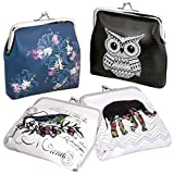 BMC 4 pack Womens Animal & Flower Design 4'' PU Leather Coin Wallet Purse Pouch