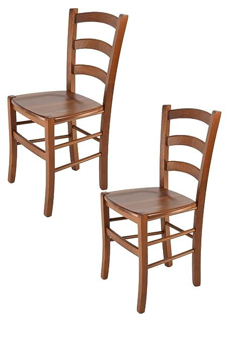 Modelli Di Sedie Per Cucina.Tommychairs Set 2 Sedie Modello Venice Per Cucina E Sala Da Pranzo Con Robusta Struttura In Legno Di Faggio Verniciata Color Noce Chiaro E Con