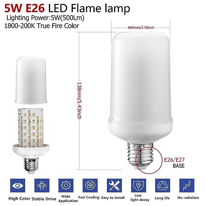 zeben bombillas LED luz de vela Flash emulación Vintage atmósfera decorativa lámparas 5 W E26/E27 bombillas de Gas (imitación de naturaleza en envejecido ...