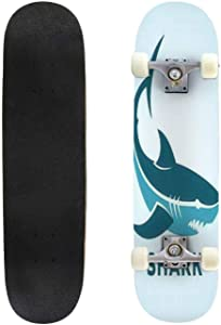 Classic Concave Skateboard Cute Blue Decorative Male Shark with a Mustache Vector Longboard Maple Deck Extreme Sports and Outdoors Double Kick Trick for Beginners and Professionals