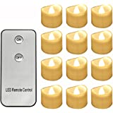 Horeset 12pcs Warm White Flickering LED with Remote Control Tea Lights Flameless Candle, Last up to 48 hours 1.4 x 1.4-Inch for Wedding, Birthday, Home Party