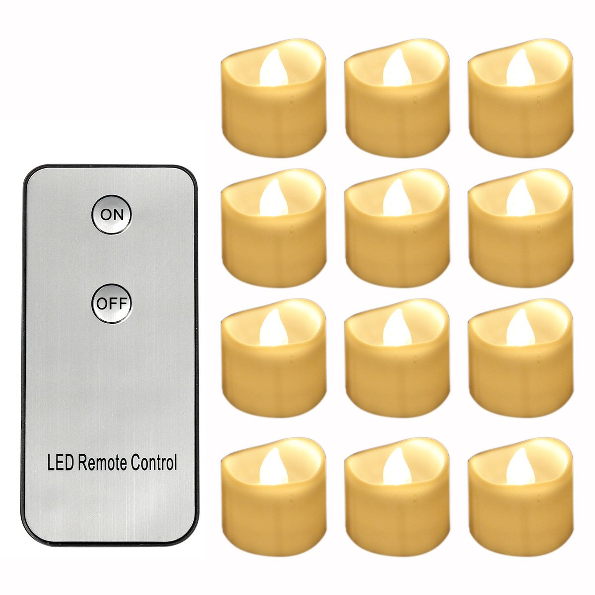 Flameless LED Warm White Flickering Amber Tea Light Candles with Remote Control, Vivii Battery-Powered Unscented LED Tealight Candles, Fake Candles, Tealights (12 Pack)