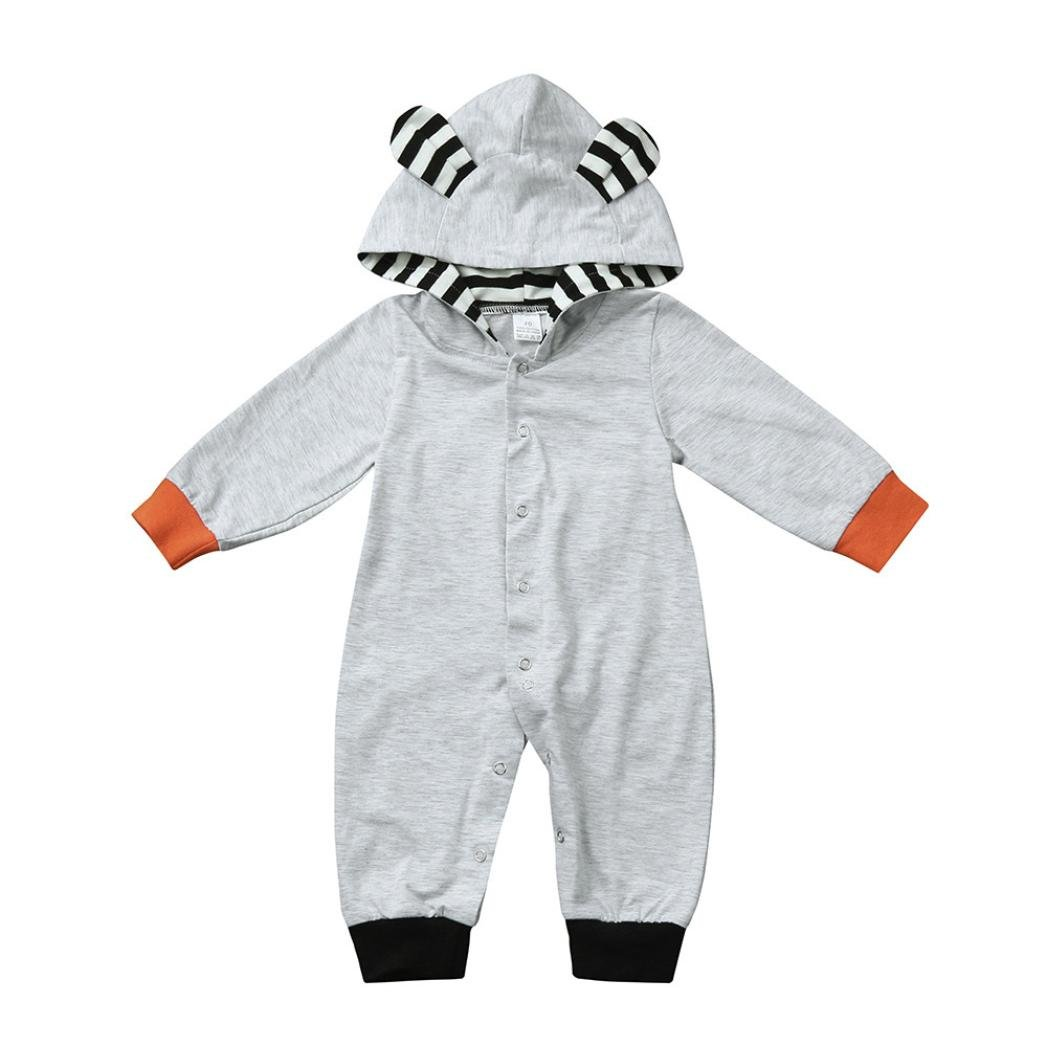 Toddler Kids Baby Clothes Outfits Boy Girls Stripe Fox Hoodie Jumpsuit With Ears