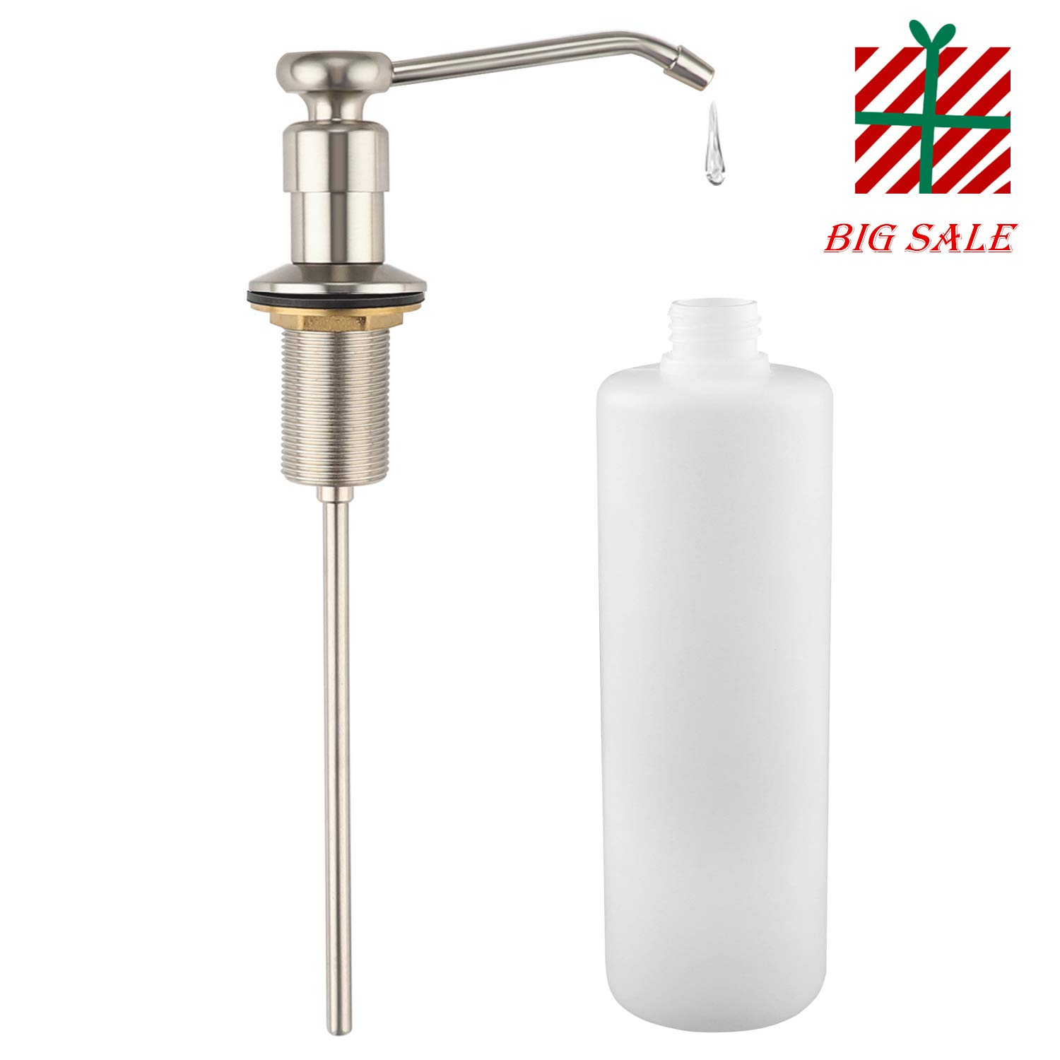 Soap Dispenser for Kitchen Sink - (Brushed Nicke) Made of Complete Brass and Stainless Steel Finish,Large Capacity 280ml Bottle Sink Soap Dispenser,LOUYC