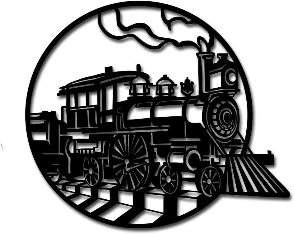 Round Hanging Sculpture Metal Wall Art Steam Train Locomotive Wall Hanging Pictures for Home Decoration Gift Ready to Hang 24x24inch