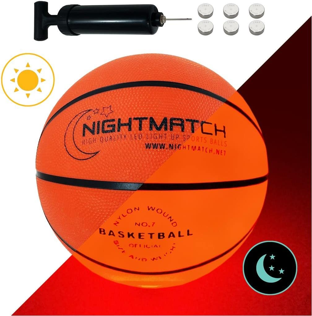NIGHTMATCH Balón de Baloncesto Ilumina Incl. Bomba de balón - LED ...