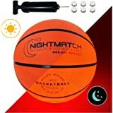 NIGHTMATCH Light Up Basketball - INCL. BALL PUMP and SPARE BATTERIES - Inside LED lights up when bounced - Glow in the Dark Basketball - Size 7 - Official Size & Weight - Night-Light Ball Sports
