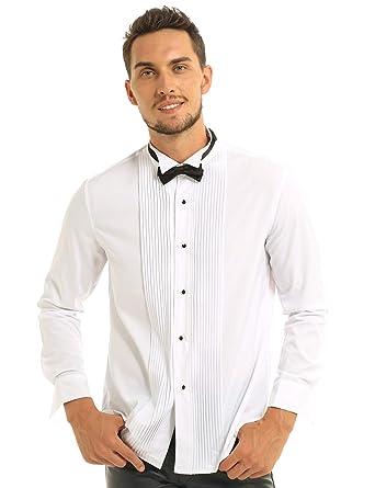 inhzoy Camisas de Manga Larga con Cuello de ala, con Botones, con ...