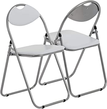 Chaise pliante rembourrée pour le bureau blanc lot de 4