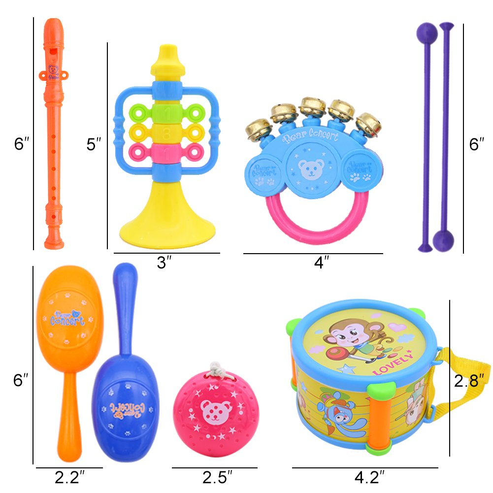 Amor Present 9 pcs Kids Musical Instruments Toy Set Roll Drums Set Percussion Toys for Early Education Random Color