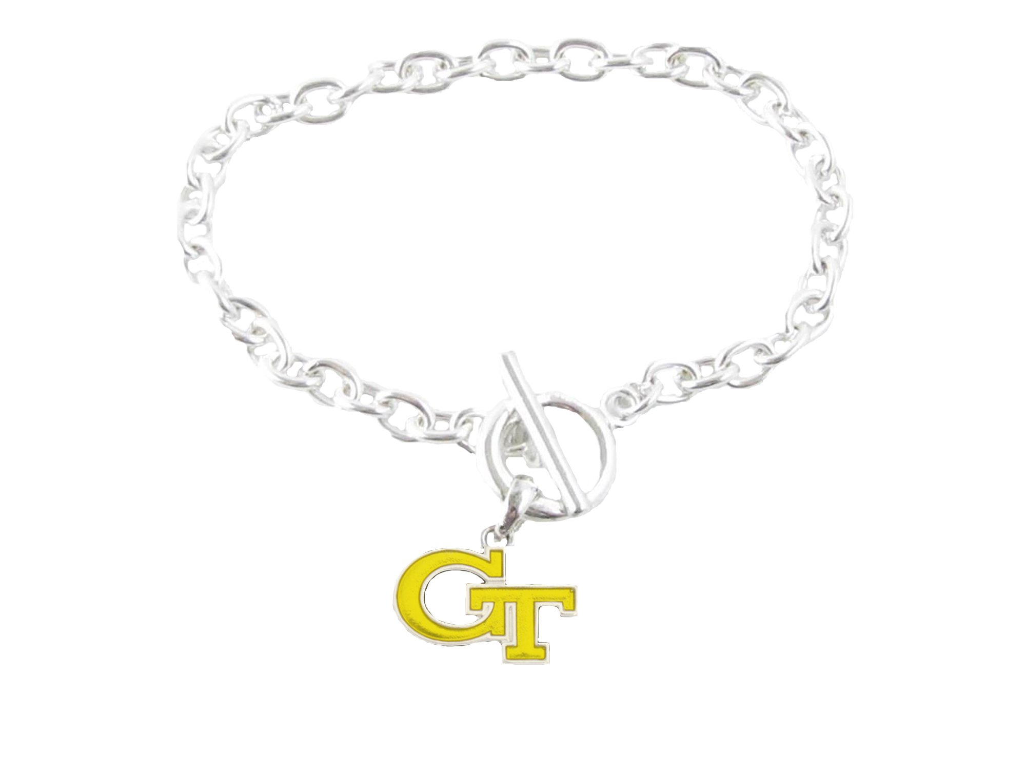 Sports Accessory Store Georgia Tech Yellow Jackets Iridescent Gold Silver Charm Toggle Bracelet Jewelry by Sports Accessory Store