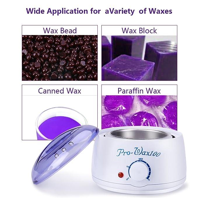 Cera calentador Cera Depilación Cera dispositivo, mysweety Wax sugarme, Waxing Set Kit Warmer con 4 x 100g Cera perlas granos + 20pcs Cera Aplicador Sticks: ...