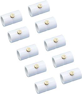 H&G lifestyles 1/2 Inch PVC Coupling with Brass Nozzle Mister Nozzle PVC (10 pcs. Couplings