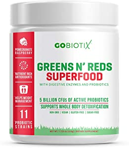 GoBiotix Super Greens Powder N' Super Reds Powder - Non-GMO Vegan Red and Green Superfood + Probiotics, Enzymes, Organic Whole Foods - Fruit and Veggie Supplement (Pomegranate Raspberry, 30 Servings)