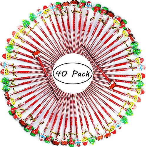 Etmact 40 Pack Assorted Colorful Holiday Christmas Pencil With Eraser Novelty Dot & Stripe Giant Eraser Topper Kids Pencils