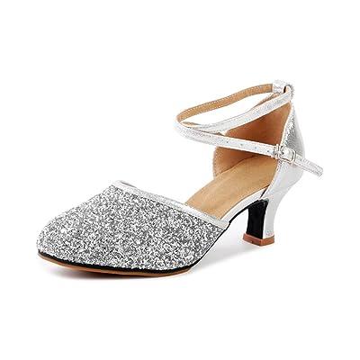 OCHENTA Women's Sequined Leather Pointed Toe Kitten Heel Latin Ballroom Dance Shoes   Ballet & Dance