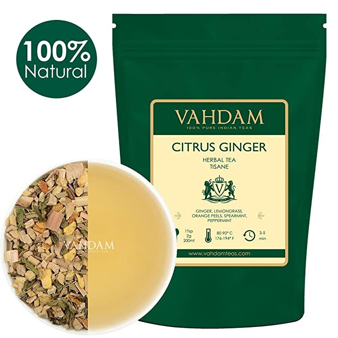 Tisana de té de hierbas de jengibre cítrico (100 tazas) TÉ DETOXO 100%