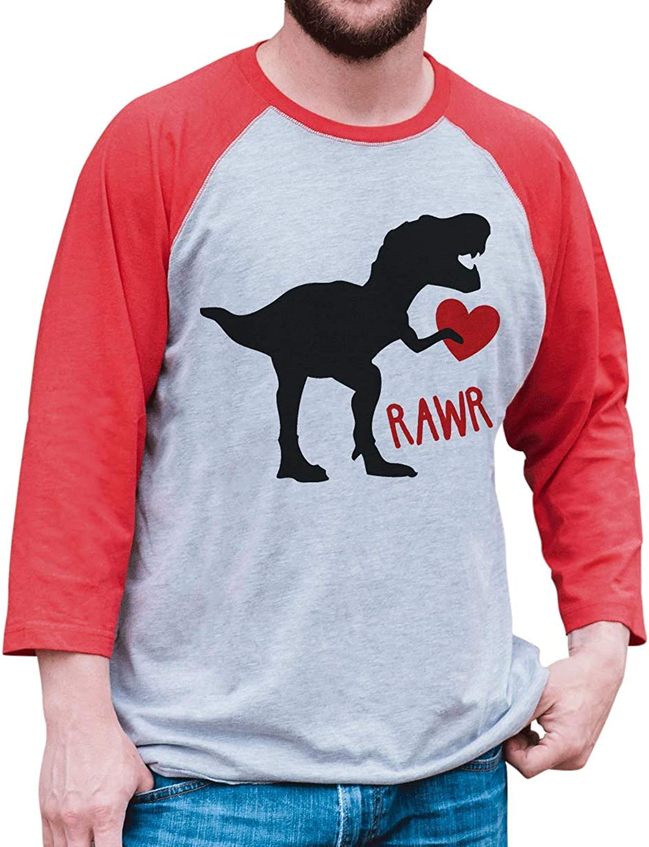 7 ate 9 Apparel Kids Dinosaur Happy Valentines Day Red Raglan