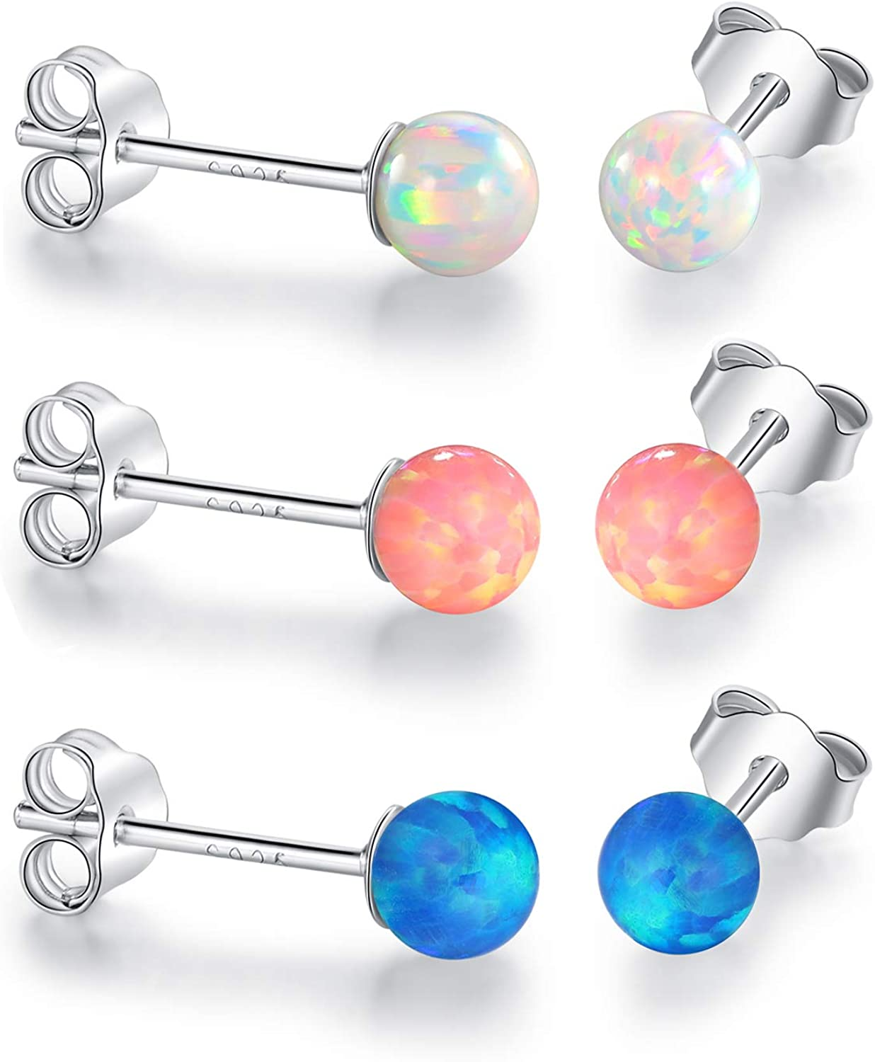 925 Sterling Silver Hypoallergenic Opal Stud Earrings for Sensitive Ear Girls Women Birthday Gifts for Teenager Daughter
