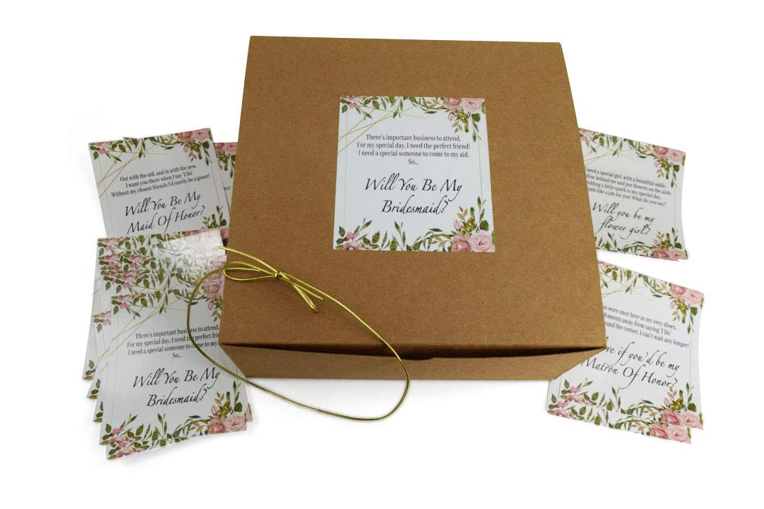 Will You Be My Bridesmaid Gift Boxes (Set of 10 Kraft Boxes 8x8x3.5 Empty Boxes) & 16 Poem Proposal Labels to Ask 10 Bridesmaids, 2 Maid of Honors, 2 Marton of Honors & 2 Flower Girls & Gold Strings.