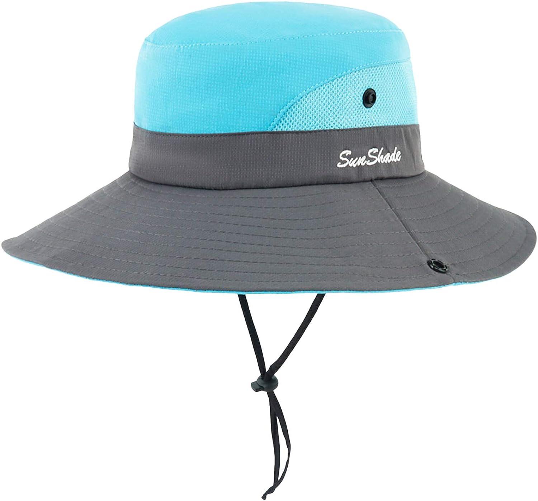 mysuntown Women's Sun Hat Summer UV Protection Hat Foldable Wide Brim Boonie Beach Fishing