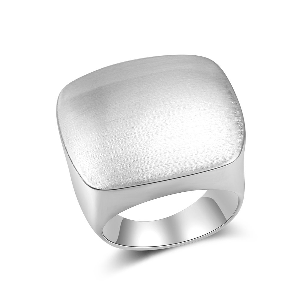 Aprilery Modern Metal Brushed Metal Finish Square Cocktail Statement Rings for Man and Women Girls Eco Material Silver(9)
