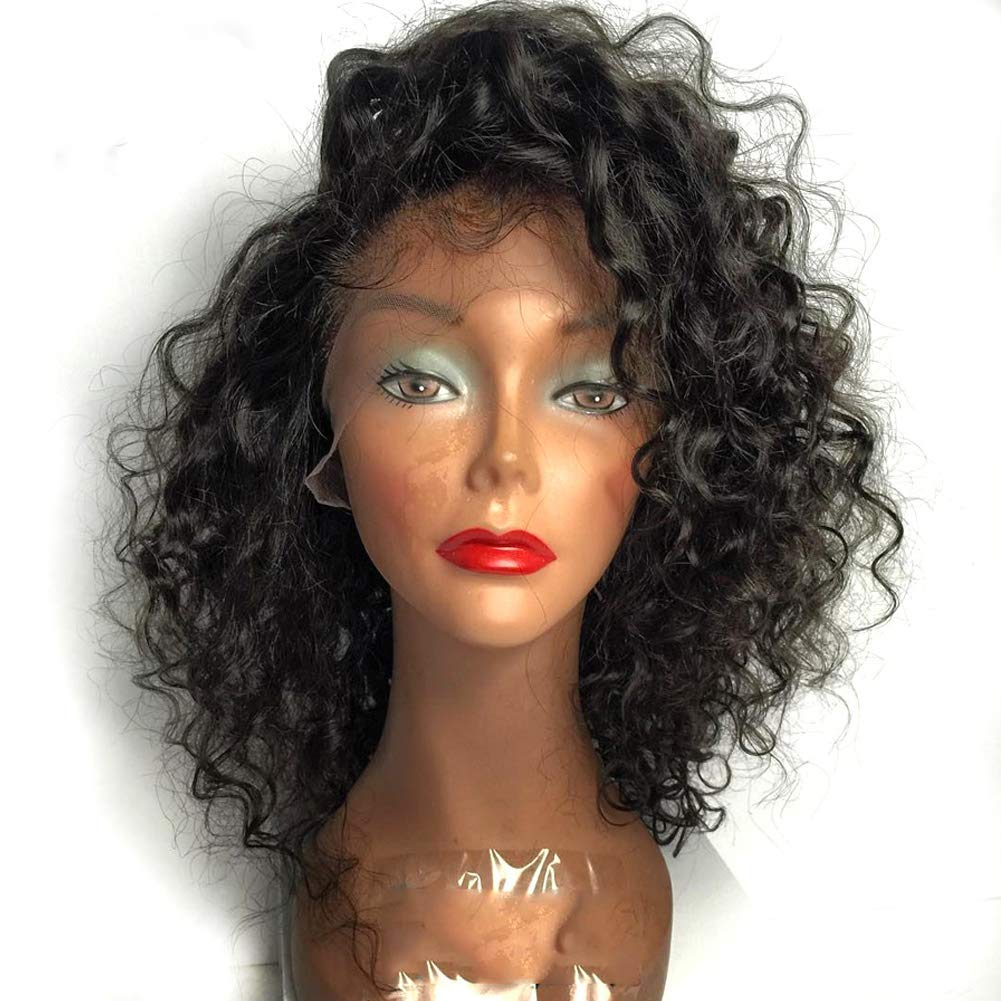 8ccb34a53 Amazon.com : Full Lace Human Hair Wigs Glueless Virgin Curly Hair Wig 130%- 180% Density Lace Front Wigs for Black Women(12 Inch Lace Front Wig) :  Beauty