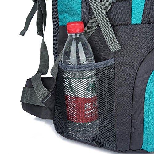 HWJF Al aire libre alpinismo bolsa de senderismo viaje de gran capacidad mochila paquete de camping para hombres y mujeres Sky Blue