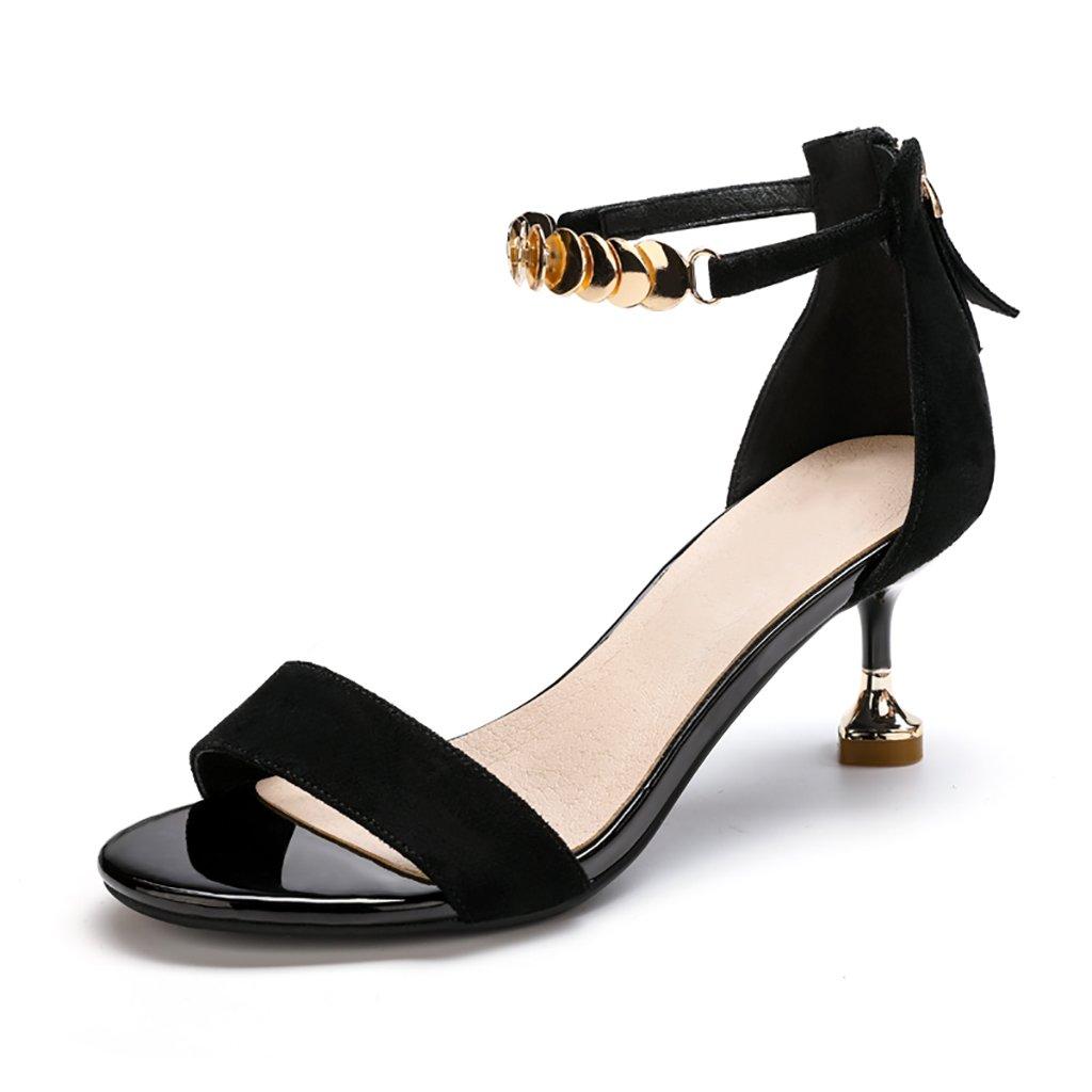 WENJUN Los Zapatos De Tacón Alto De Todos Los Partidos Femeninos Estudiantes Abrochan Zapatos Solos Femeninos Finos con La Moda De La Marea Era Zapatos De Personalidad Delgada 36 EU|Negro