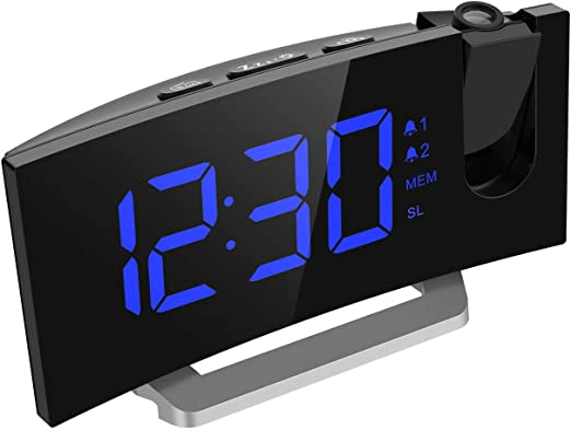 Mpow Projection Alarm Clock, 5 LED Curved-Screen Digital Alarm Clock, 15 FM Radio, Dual Alarm with 4 Alarm Sounds, 6 Dimmer, 12/24 Hour, USB Phone ...