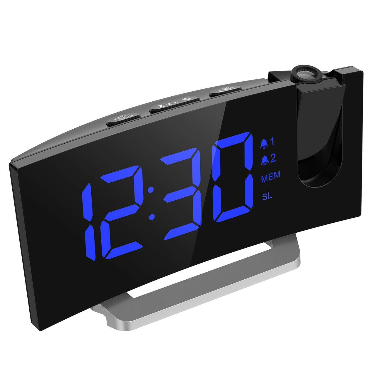 Mpow Cur, 5'' LED Curved-Screen Projection, FM Radio, Dual Clock with 4 Alarm Sounds, 12/24 Hour, Blue Mpow Projection Alarm Clock 5'' LED Cur