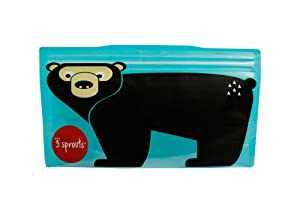 3 Sprouts Snack Bag – Reusable and Washable Travel Food Bags for Kids Lunch Pack