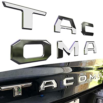 ARITA Tailgate Insert Letters for Toyota Tacoma 2016 2020 2020 2020 2020 -3M Adhesive & 3D Raised Tailgate Letters for Tacoma - Chrome Silver: Automotive