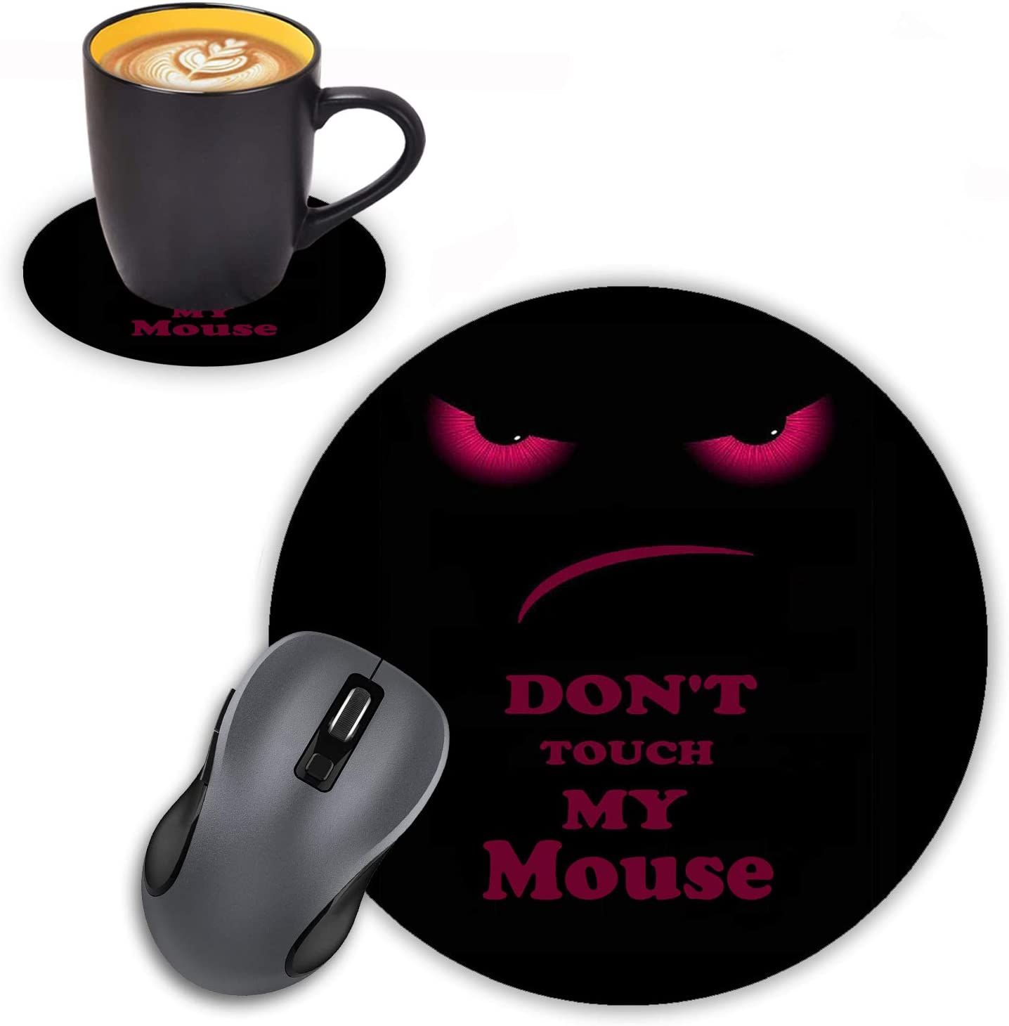 Log Zog Round Mouse Pad with Coasters Set, Don't Touch My Mouse Design Mouse Pad Non-Slip Rubber Mousepad Office Accessories Desk Decor Mouse Pads for Computers Laptop